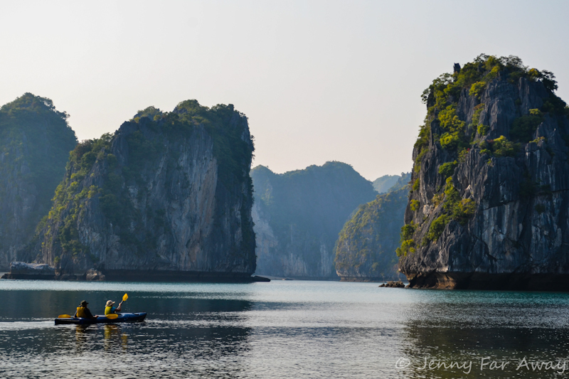 Mom and Bob kayaking in Lan Ha Bay, Vietnam.