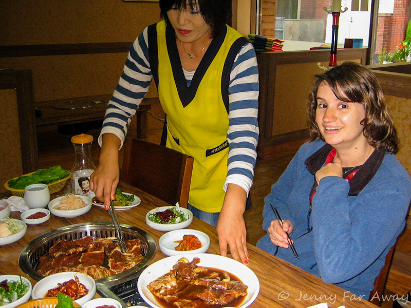 Tucking into a delicious Korean meal of doejigalbi.
