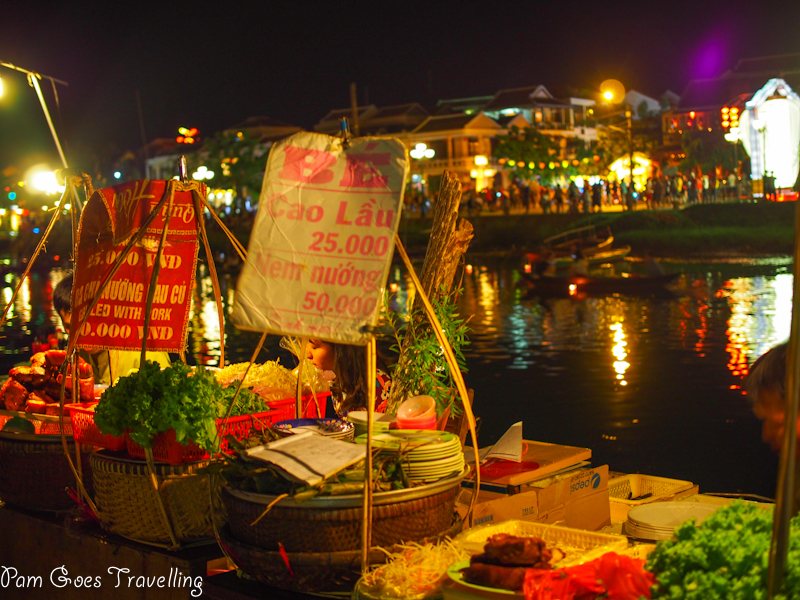 Ate along the river bank with food stalls like this.