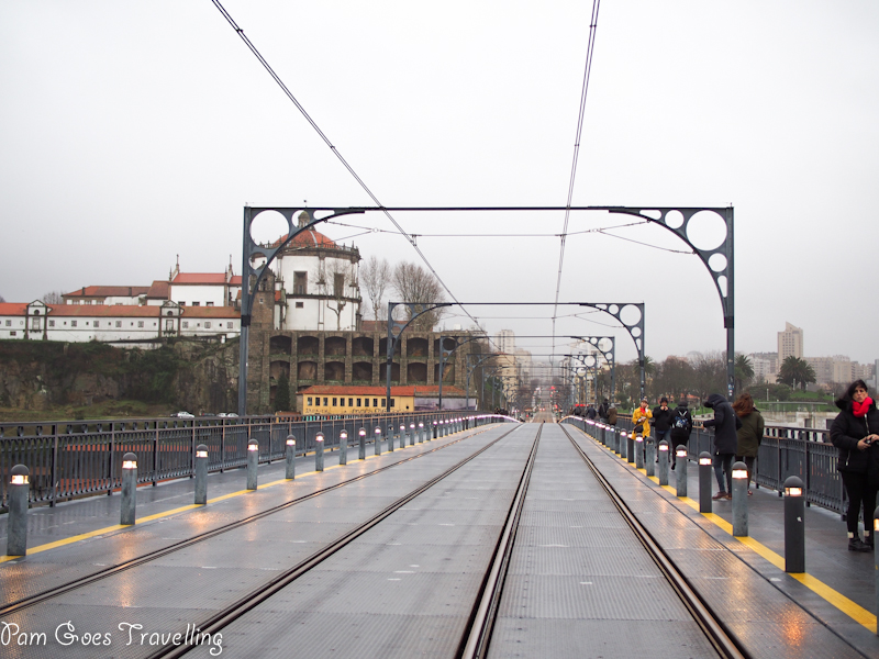 Walking along the train track to the other side of Porto